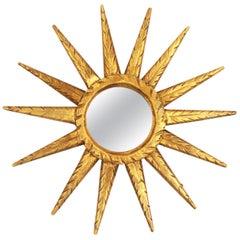 Unusual Mini Sized Carved Giltwood Sunburst or Starburst Mirror, Spain, 1960s