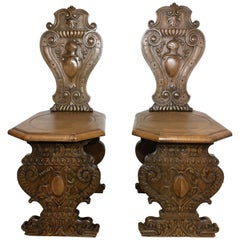 19th Century Pair of Carved Oak Sgabello Hall Chairs, Italy