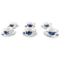 Six Persons Royal Copenhagen Blue Flower Angular, Six Coffee Cups with Saucers