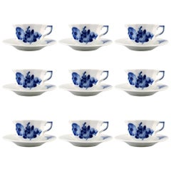 Nine-Piece Royal Copenhagen Blue Flower Angular, Espresso Cups, 'Mocca Cups'