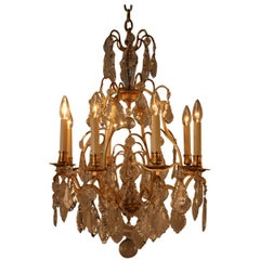 French Louis XVI Style Bronze and Crystal Chandelier