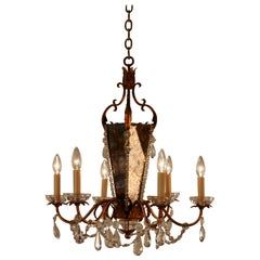 1950s Gold Leaf and Crystal Chandelier