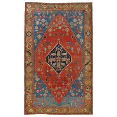 Antique Persian Serapi Carpet, Handmade Wool Oriental Rug, Red, Camel Light Blue
