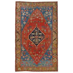 Antique Persian Serapi Carpet, Handmade Wool Oriental Rug, Red, Camel Light Blue