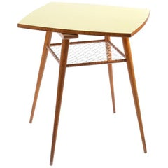 Midcentury Coffee Table with Yellow Rotating Formica Topboard, Czechoslovakia