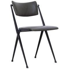 Wim Rietveld Mid Century, Black Grey Pyramid Chair Netherlands circa 1960s