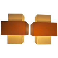 Pair of Metallic Rectangular Sconces Hans-Agne Jakobsson Selectra, 1950