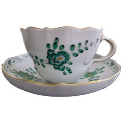 Meissen Green Dragon Demitasse Cup and Saucer