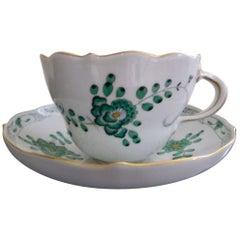 Meissen Green Dragon Demitasse Cup and Saucer