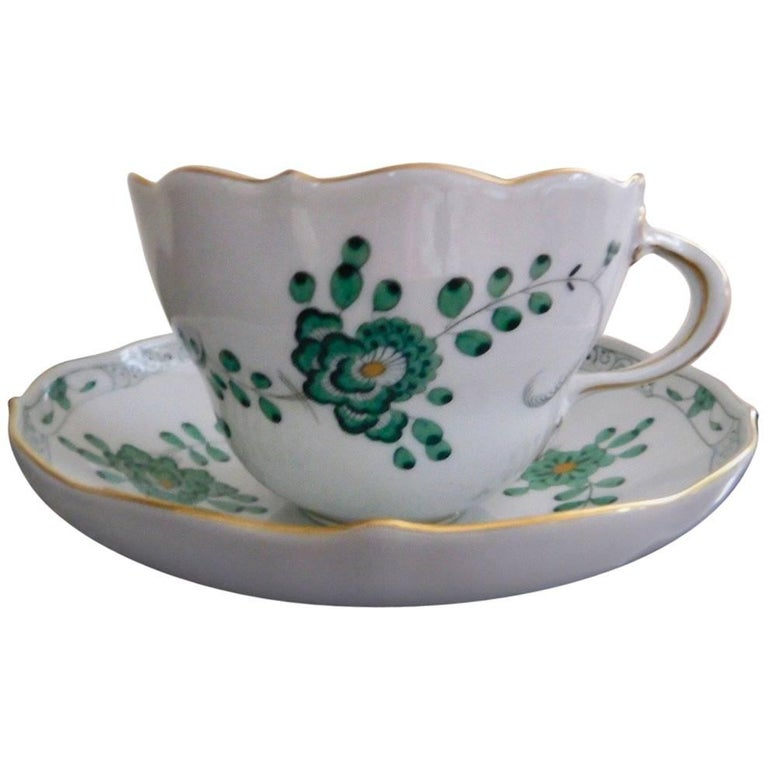 Meissen Green Dragon Demitasse Cup and Saucer For Sale