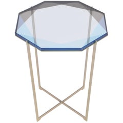 Gem Side Table, Blue, Brass, in Stock