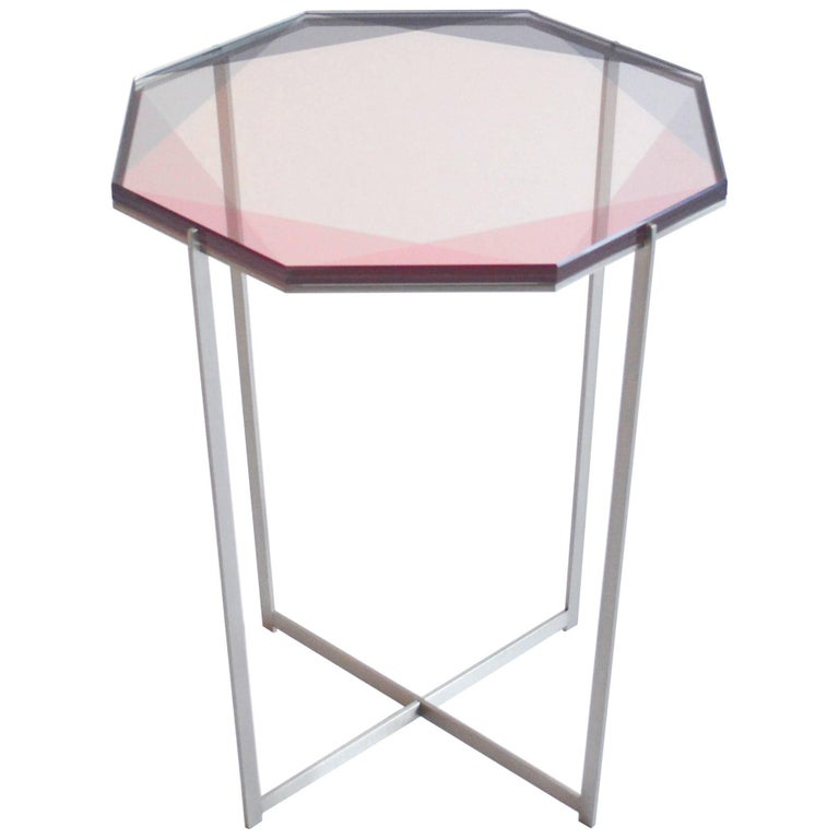 Gem Side Table/ Pink, Nickel/ in Stock