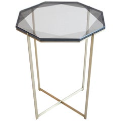 Gem Side Table/ Smoke, Brass/ In Stock