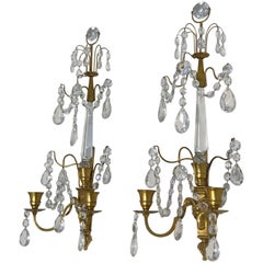 Pair Swedish Gustavian or Baltic Doré Gilt Bronze Rams Head Wall Sconces