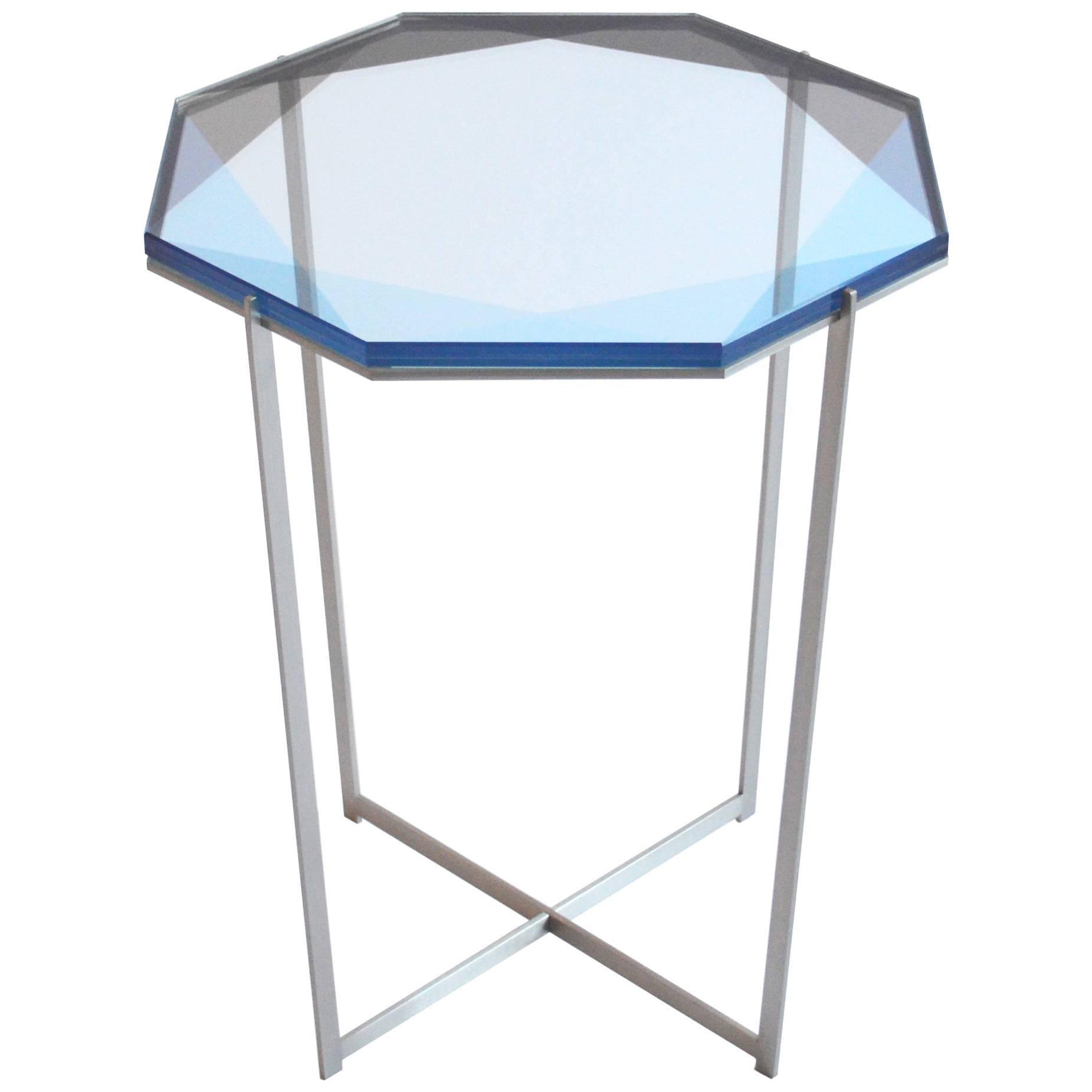 Gem Side Table - Blue Glass w/ Stainless Steel Base by Debra Folz
