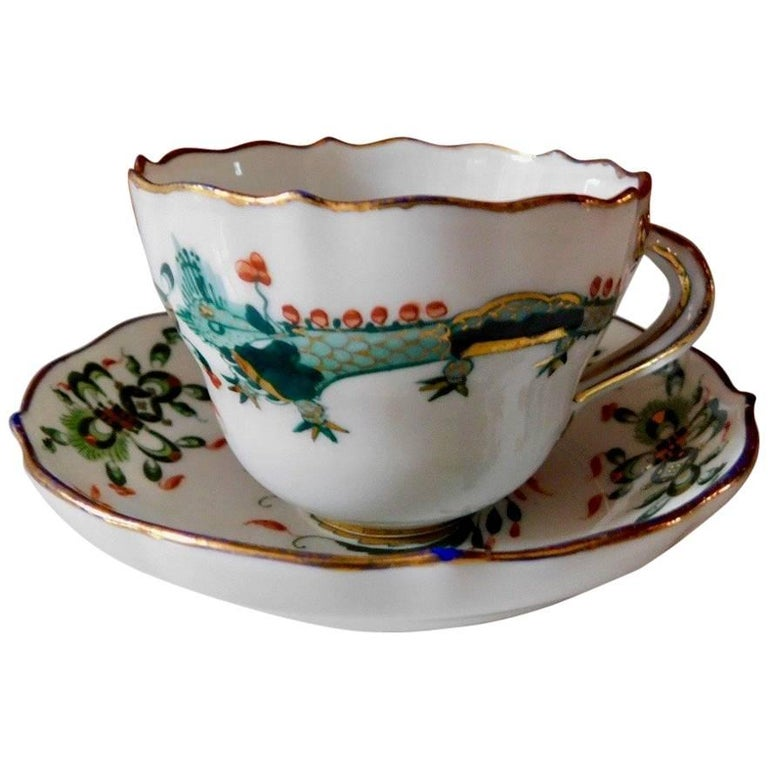 Meissen Porcelain Green Dragon Cup and Saucer For Sale