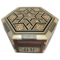 Middle Eastern Handcrafted Syrian Octagonal Box Inlaid withMother-of-Pearl