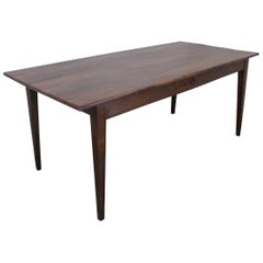 Antique Wide Cherry Farm Table with One Drawer