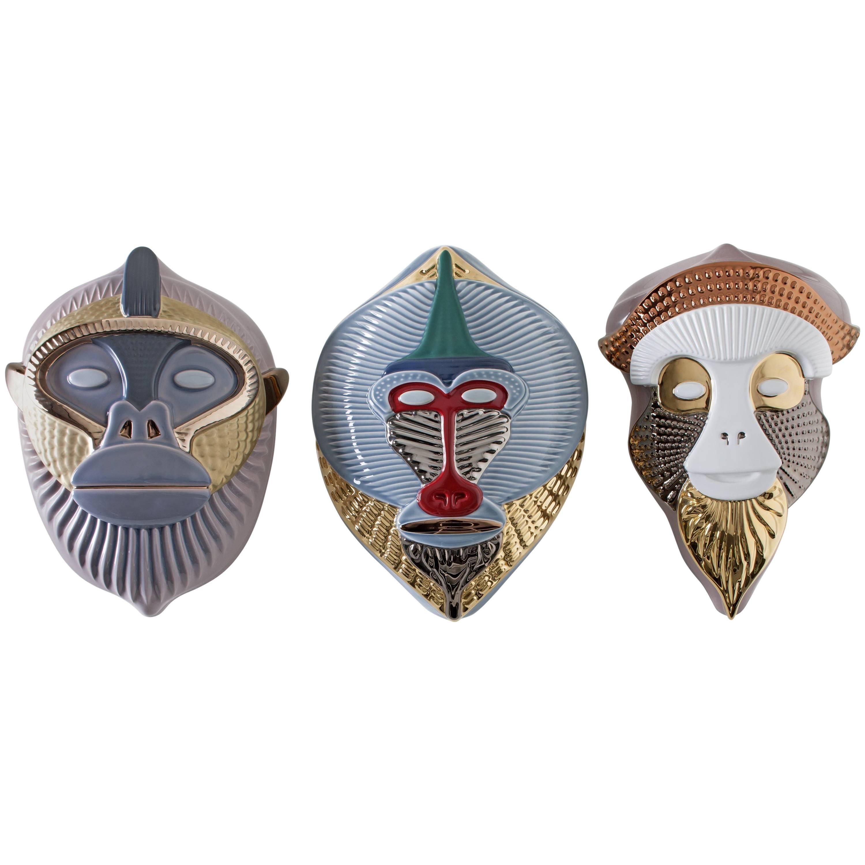 Primates Ceramic Masks Designed by Elena Salmistraro for Bosa