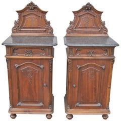 Pair of 19th Century Carved Walnut Marble-Top Bed Side Tables