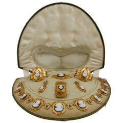 Louis-Philippe Cameo and Gold Parure in Its Original Fitted-Case