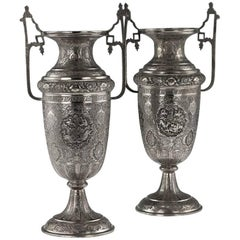 Antique Persian Solid Silver Large Pair of Vases, Isfahan, circa 1920