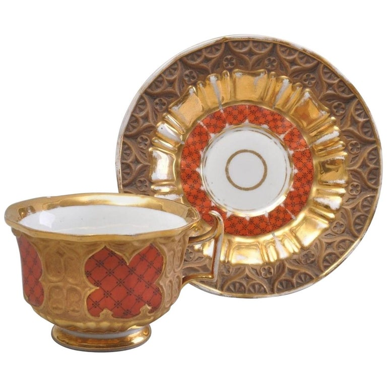 Gothic Meissen Porcelain Ceremonial Cup and Saucer Grid Pattern, circa 1850