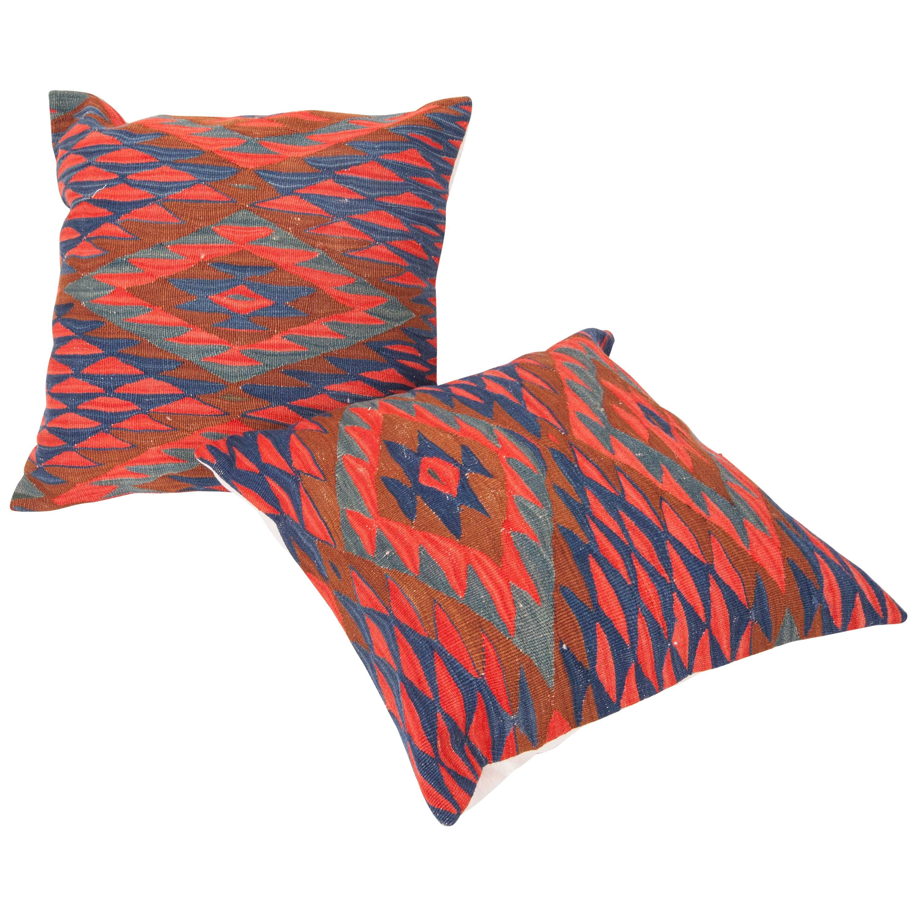 Antique Kilim Pillow Cases Fashioned from Late 19th Century Sharkoy Kilim