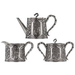 Antique Chinese Solid Silver Three-Piece Tea Set, Bao Cheng, Tianjin, circa 1900