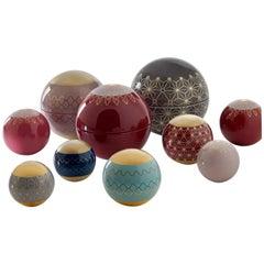 Spheres 2018 Set of Ten Ceramic Spheres with Décors by Edward van Vliet