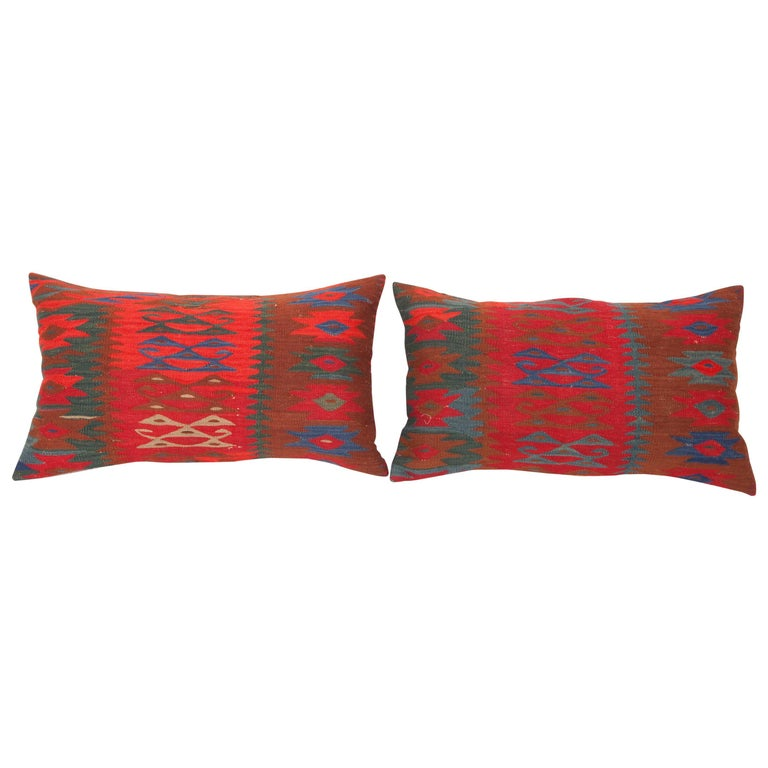 Antique Kilim Pillow Cases Fashioned from a late 19th C. Sharkoy Kilim