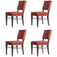 Set of Four Dining Chairs in Veneer and Original Fabric, Czechoslovakia, 1940s