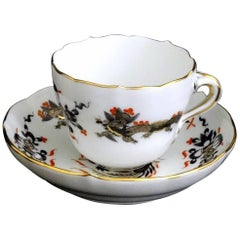 Meissen Black Dragon Red Accent Demitasse Cup and Saucer