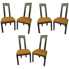 Set of Six American Modern Cerused and Silver Gilt Dining Chairs, James Mont