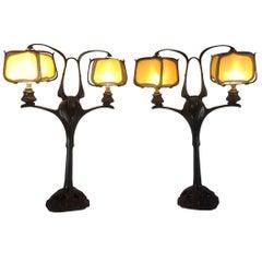 Pair of Bronze and Silk Art Nouveau Lamps by Georges de Feure, 1905