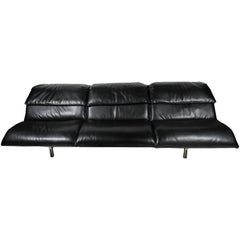 "Italian Modern Stainless Steel and Leather Three-Seat ""Wave"" Sofa, Saporiti"