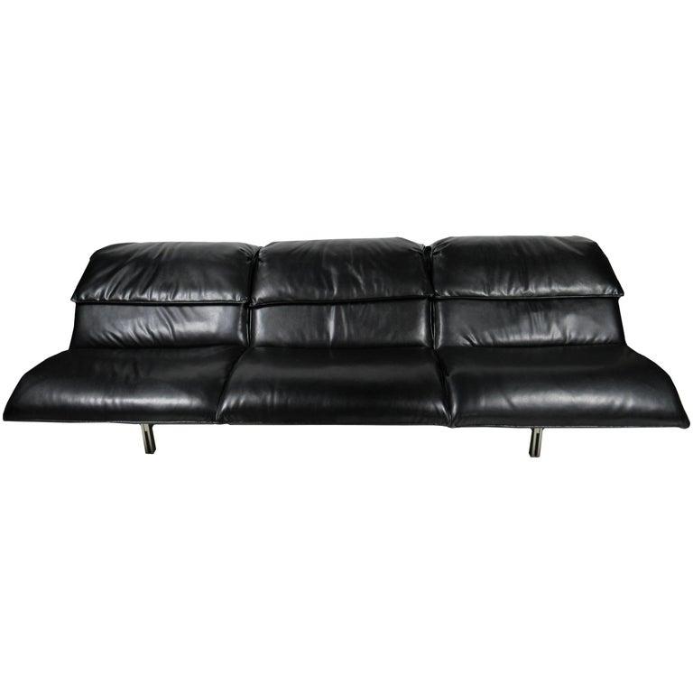 "Italian Modern Stainless Steel and Leather Three-Seat ""Wave"" Sofa, Saporiti"