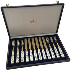 Royal Copenhagen Flora Danica Dessert Flatware Set for 6 Anton Michelsen in Box