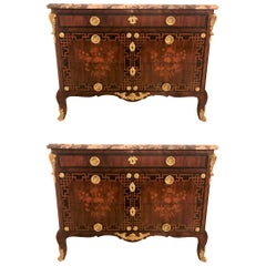 Pair of Louis XV Style Antique French Floral Inlaid Marble-Top Commode or Chests