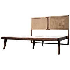 Mid-Century Modern Hardwood Rian Bed, Woven Danish Cord Headboard, King