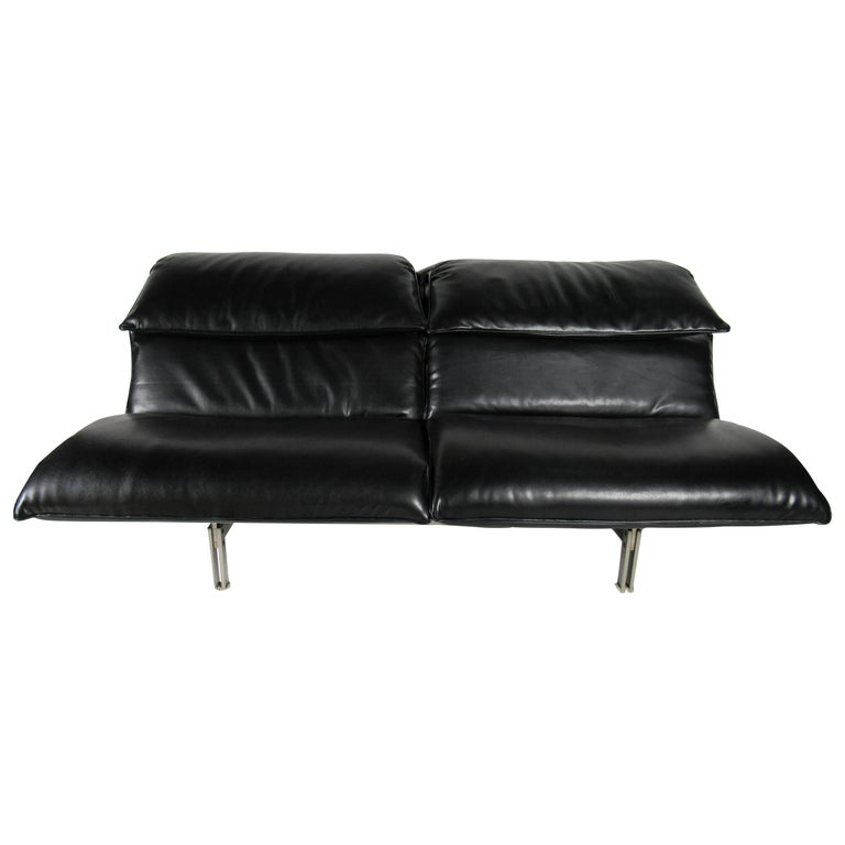 "Italian Modern Stainless Steel and Leather Two-Seat ""Wave"" Sofa, Saporiti"