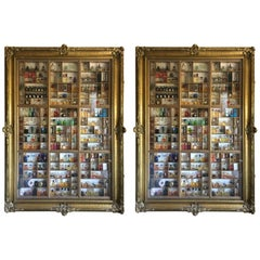 "Pair of Antique ""Frames"" Display Cabinets and Perfume Bottle Collection"