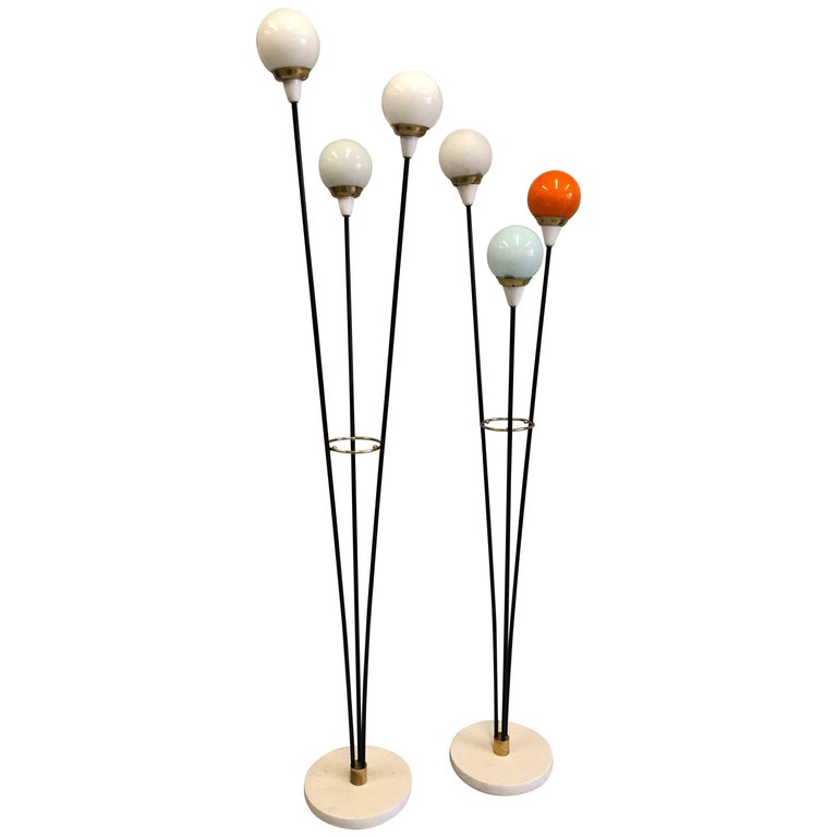 Rare Pair of Italian Mid-Century Modern 'Petit Arboletto' Floor Lamps, Stilnovo