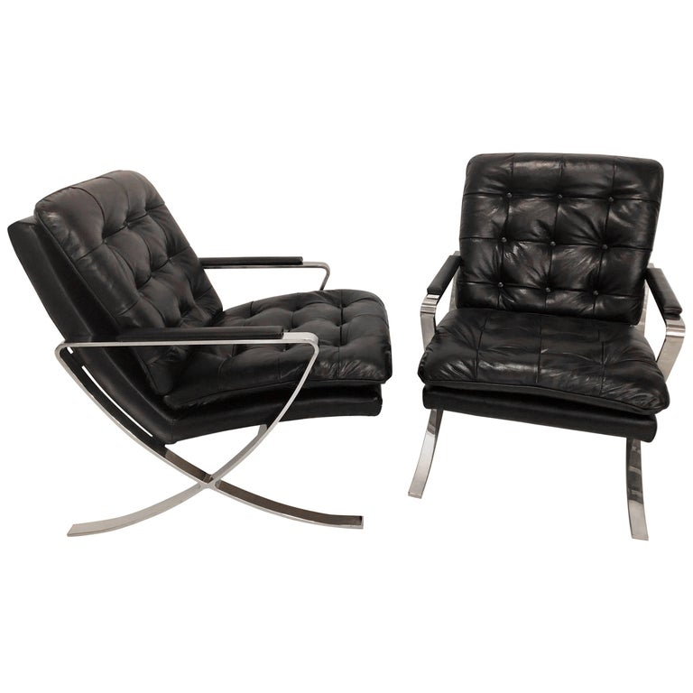 Pair of Black Leather Tufted and Chrome X-Base Cigar Chairs