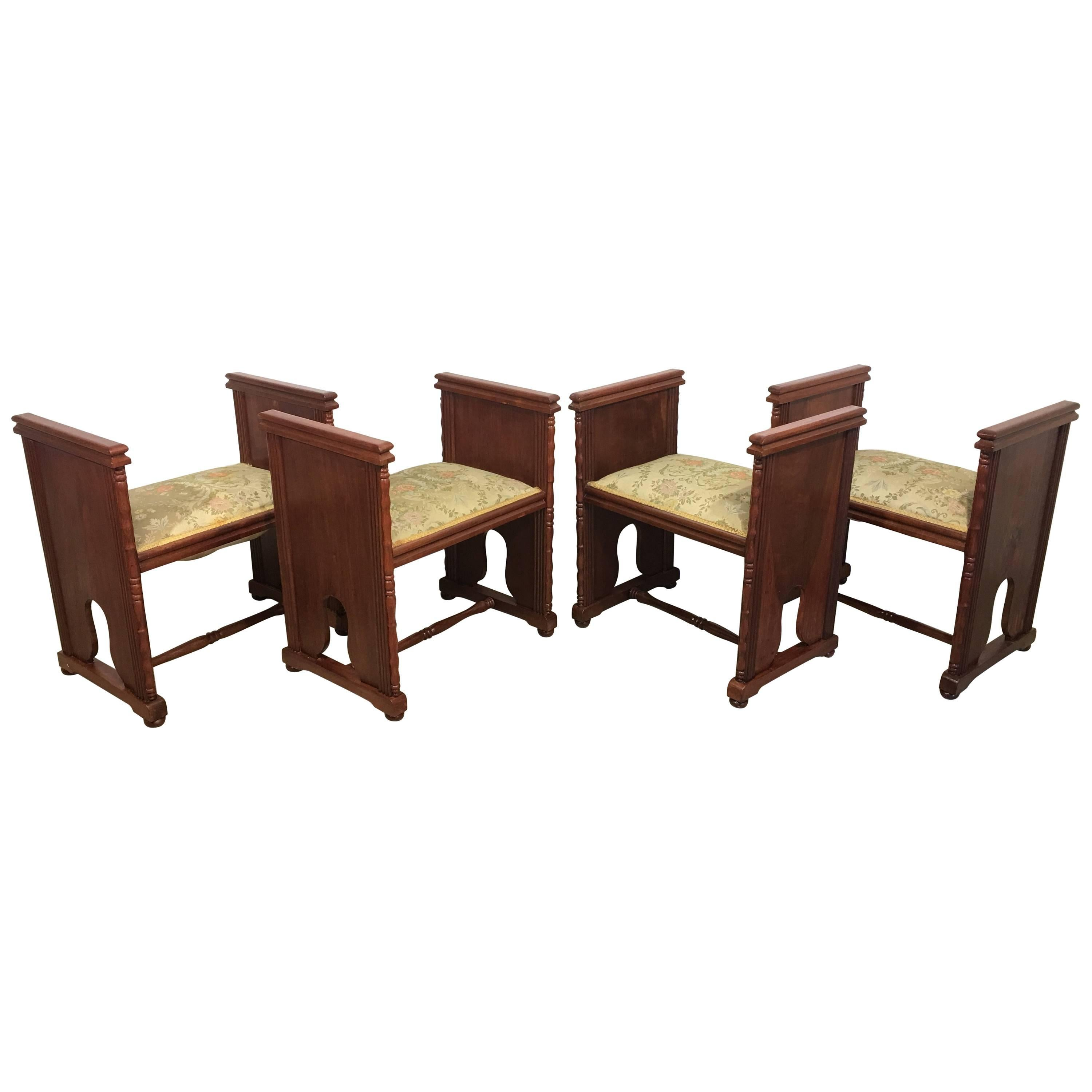 Set of Four Modernist Rectangular Upholstered Window Benches with Arms