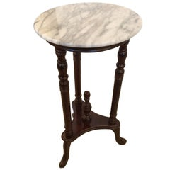 Refined Mahogany and Marble Stand or Side Table