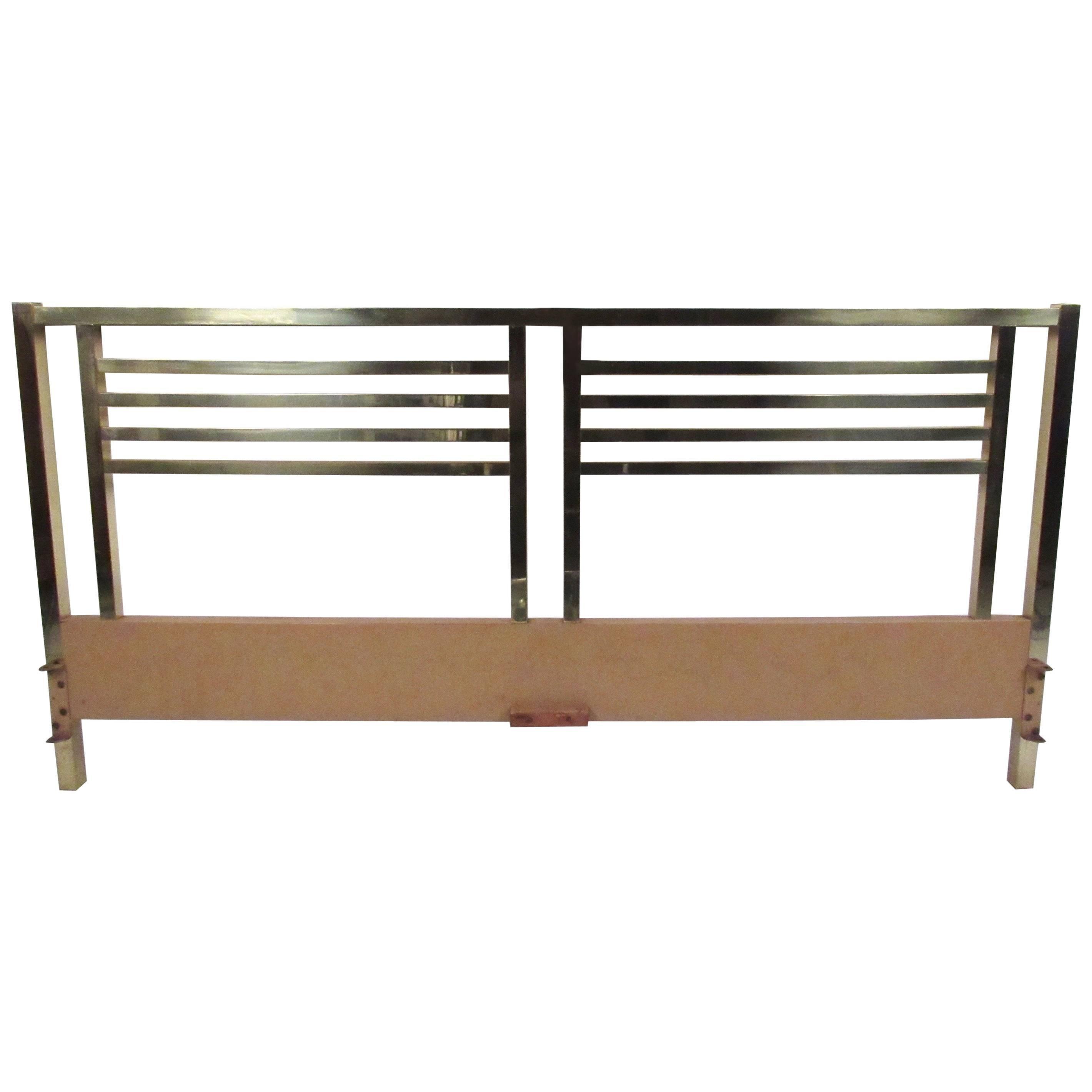 Vintage Modern King-Size Brass Bed Headboard