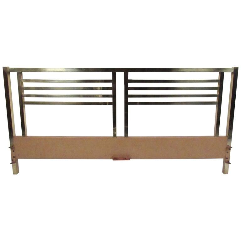 Vintage Modern King-Size Brass Bed Headboard For Sale