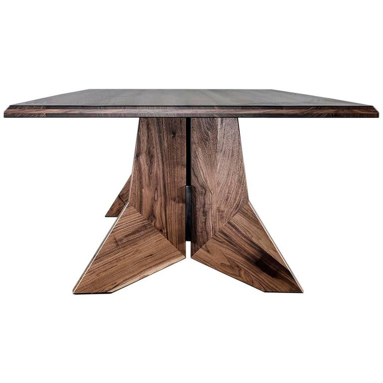 Hardwood and Steel Modern Dining Table, Peralta