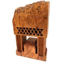 Intricate Sculpture-Box by Michael Elkan Live Edge in Maple Burlwood